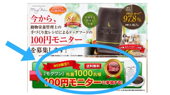 モグワンお試し100円モニターの申し込み手順を解説した画像