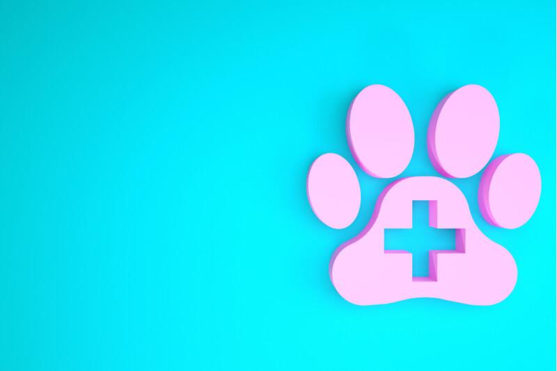 犬の足跡と病院のマーク