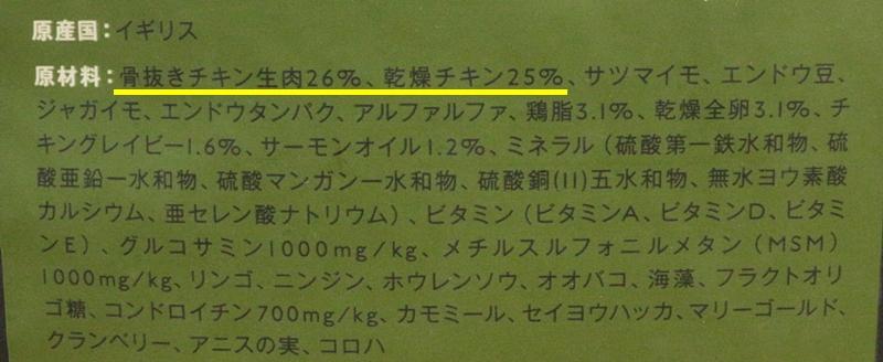 ドッグフードのお肉の使用量