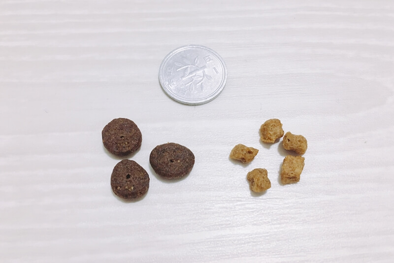 モグワンの粒の大きさを比較